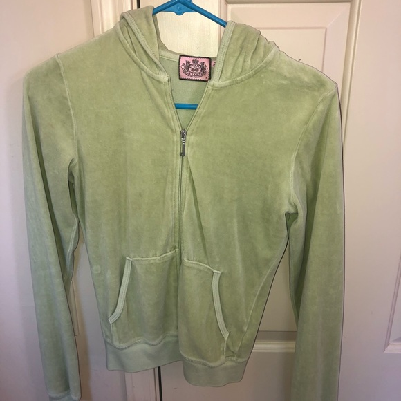 Girls Green Velour Juicy Couture Track Jacket